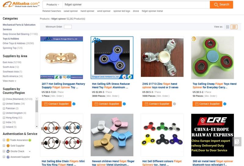 Dapatkan fidget spinner dengan harga paling murah di website Alibaba