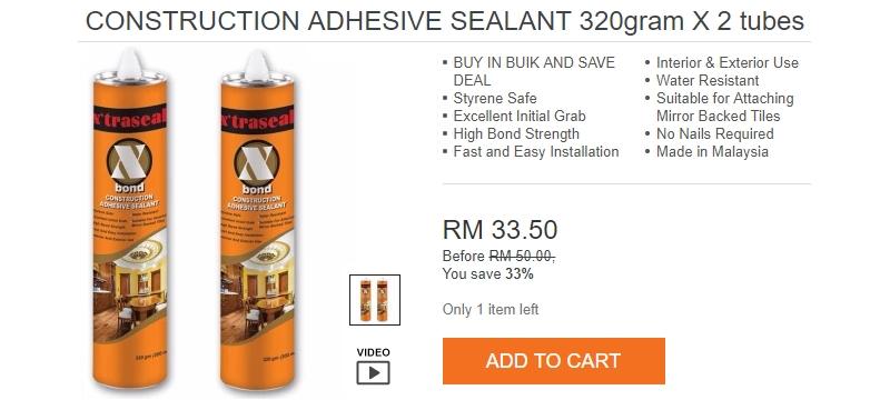 Anda boleh beli dan dapatkan Adhesive Sealant ini mudah di website Lazada Malaysia