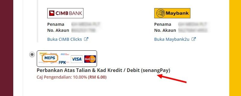Contoh bagaimana online payment gateway dari SenangPay digunakan