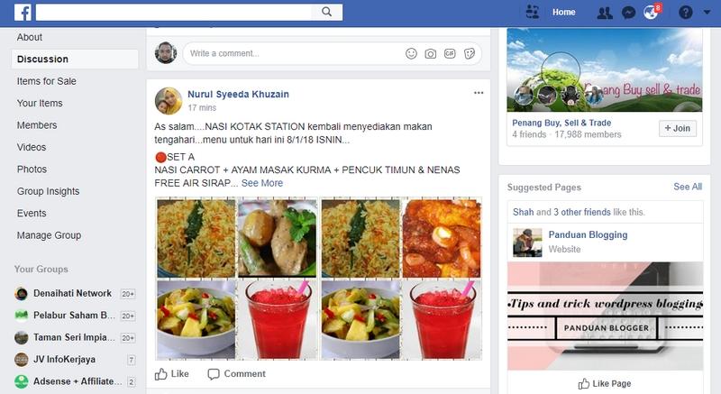 Contoh promosi bisnes dari dapur melalui Facebook