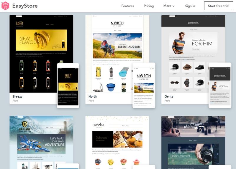 Design theme eCommerce kedai online eCommerce EasyStore dengan mudah