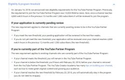 New YouTube partner program requirement 2018