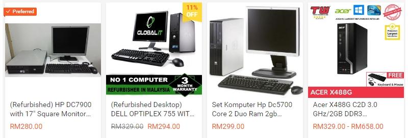 Dapatkan set komputer cpu jenis refurbished murah di website Shopee Malaysia