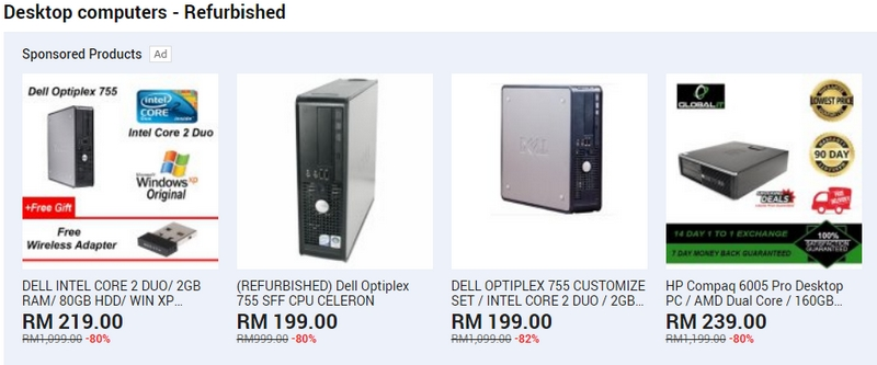 Set cpu komputer jenis refurbished yang murah di website 11Street Malaysia