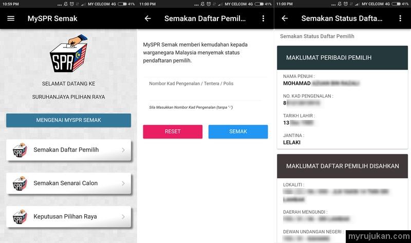 Sila semak daftar pemilih pengundi pilihan raya menggunakan MySPR Semak