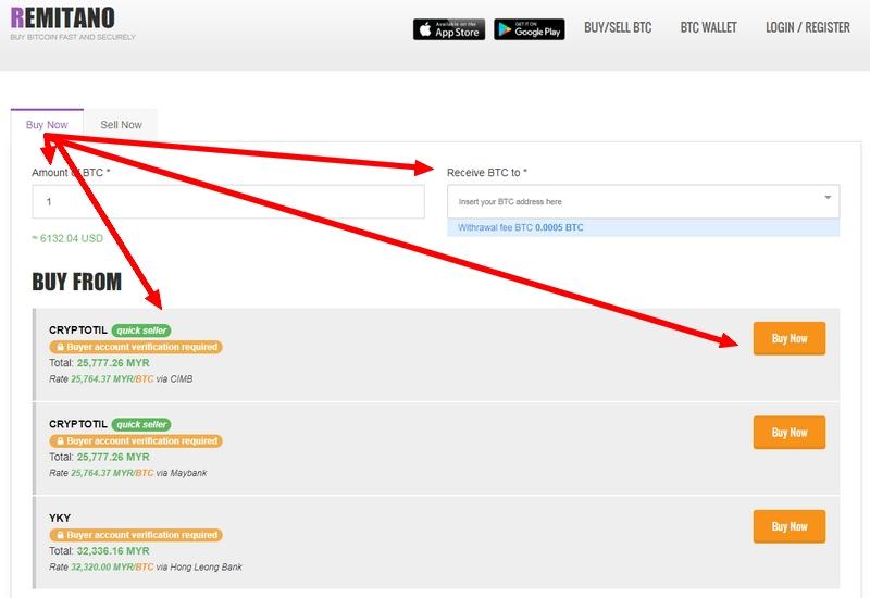 Contoh aktiviti jual beli Bitcoin melalui Remitano