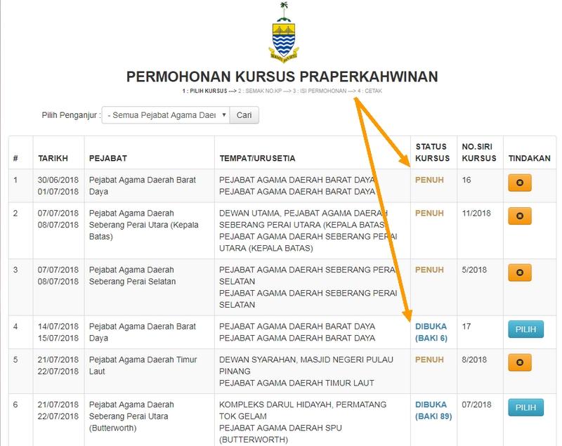 Jadual tarikh permohonan kursus praperkahwinan Pulau Pinang