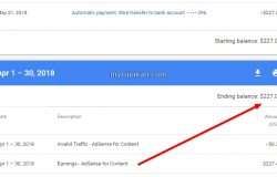Jumlah earning Adsense pada bulan April 2018