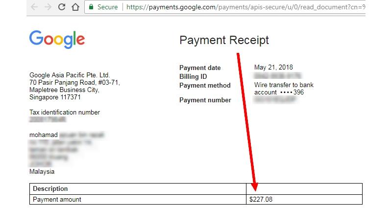 Payment earning Adsense terus masuk ke akaun bank melalui wire transfer