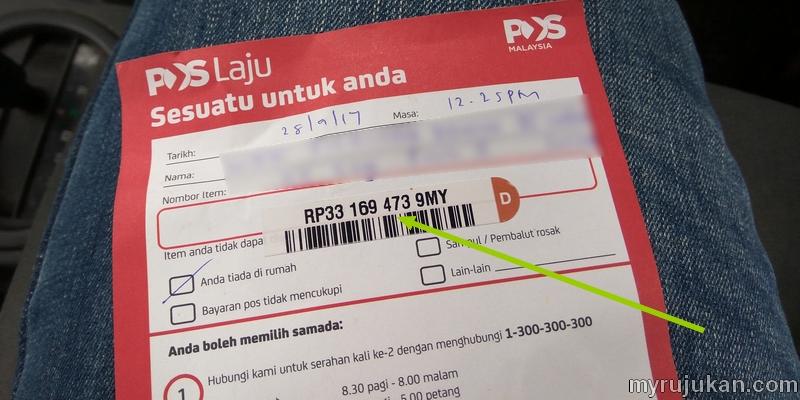Semak samada barang pos sudah sampai dengan nombor tracking