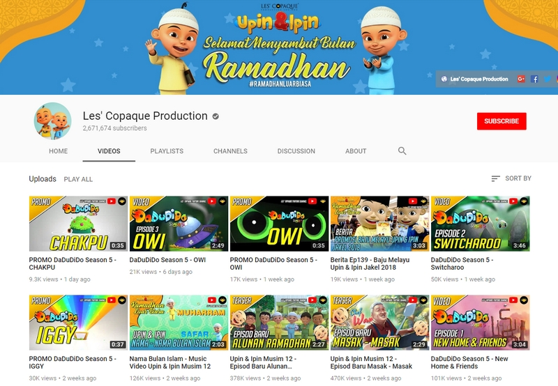 YouTube Channel Les' Copaque Production adalah paling popular di Malaysia