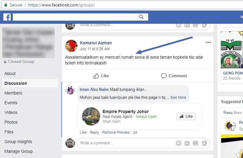 Contoh sebenar bagaimana mencari rumah untuk disewa melalui Facebook group