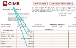 Invoice menjual saham Novamsc dari iTrade CIMB