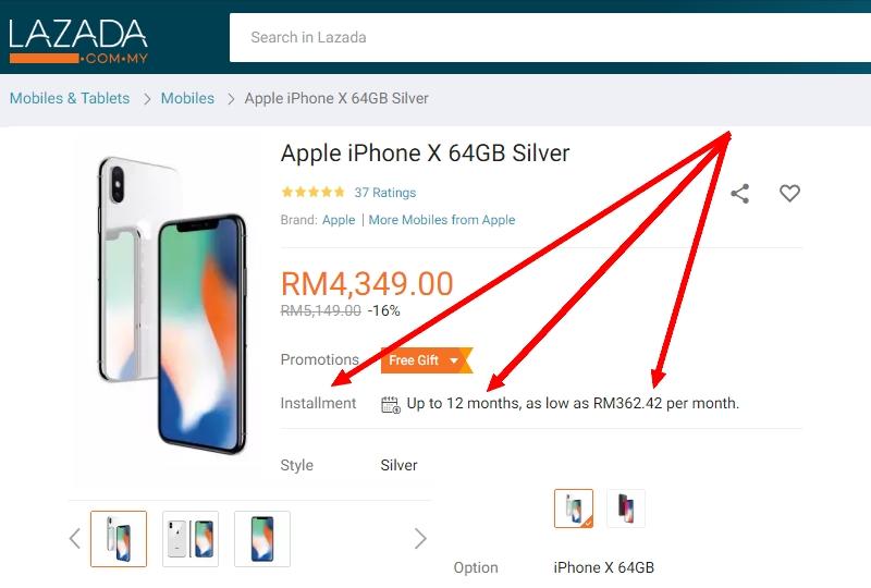 Menggunakan kelebihan kad kredit untuk membeli iPhone di Lazada dengan harga murah