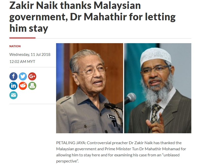 Zakir Naik thanks Malaysian government Dr Mahathir for letting him stay