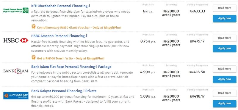 Anda boleh dapatkan pinjaman peribadi swasta islamik dengan mudah di RinggitPlus