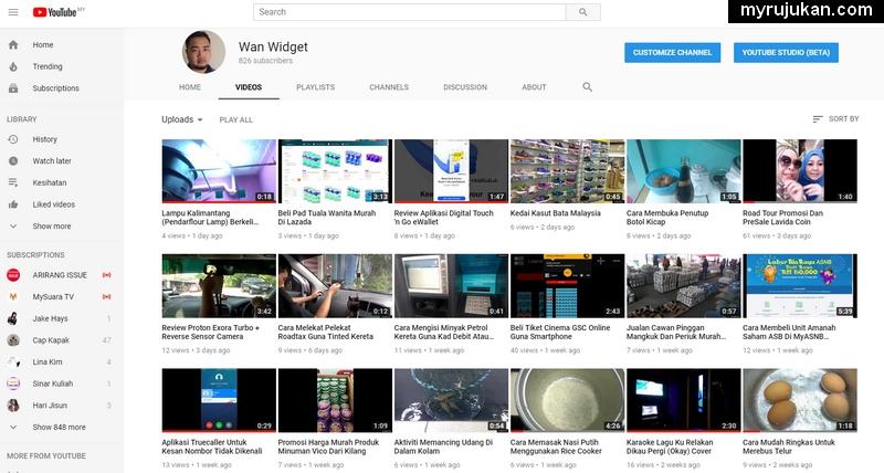Antara akaun YouTube saya yang saya cuba sebagai projek perintis buat duit dengan YouTube