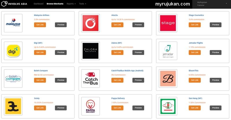 Antara website merchant eCommerce yang terdapat dalam program referral Involve Asia
