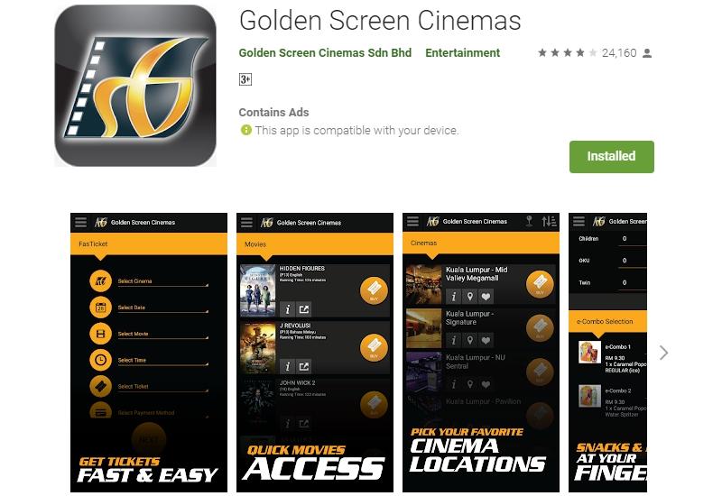 Beli tiket wayang guna apps online guna aplikasi GSC Cinemas