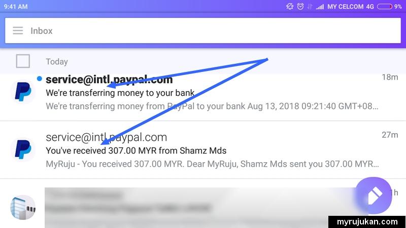 Notifikasi dari email berkenaan saya menerima dan telah withdraw duit dari paypal