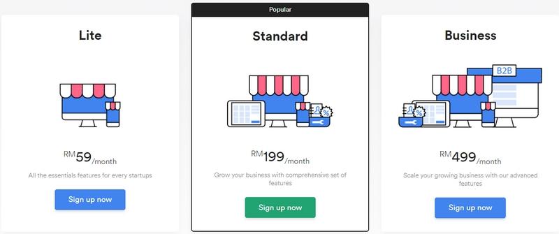 Pakej harga bulanan yang ditawarkan oleh Easystore Malaysia