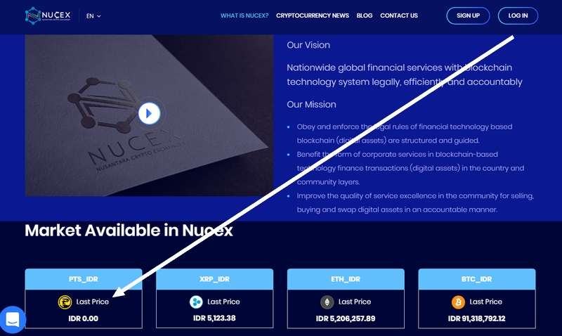 PitisCoin di exchanger Indonesia iaitu Nucex