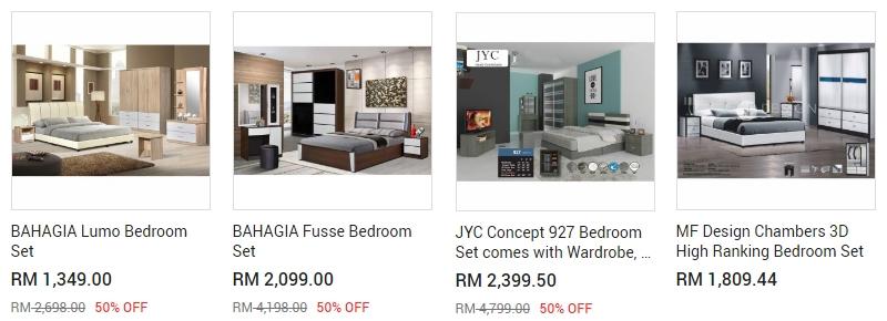Anda boleh beli set perabot bilik tidur secara online murah