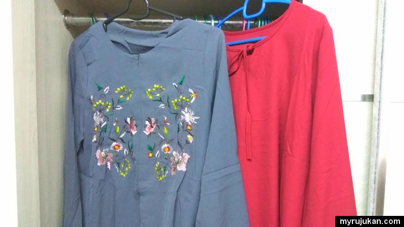 Baju blouse pelbagai saiz yang dibeli secara online