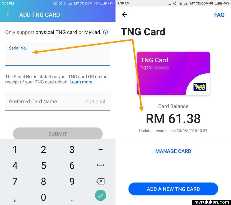 Cara add dan check baki kad Touch n Go di dalam TnG eWallet
