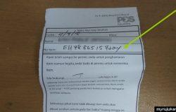 Cara untuk check tracking number yang ada pada notis pengambilan barang