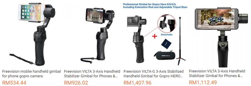 Contoh gimbal Freevision Vilta yang ada dijual melalui website Lazada