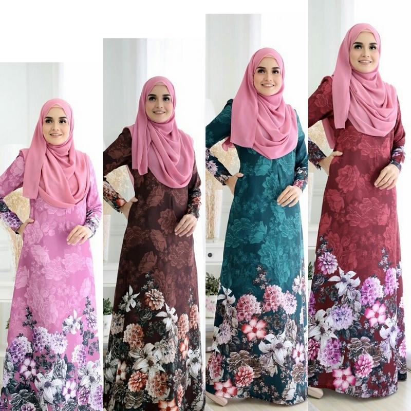 Dropship jubah muslimah corak bunga yang cantik