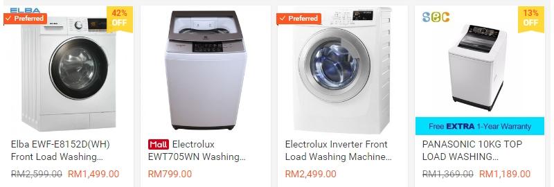 Jenis jenis mesin basuh automatik yang dijual di Shopee