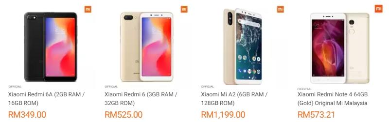 Model model smartphone Xiaomi yang dijual secara rasmi di Lazada