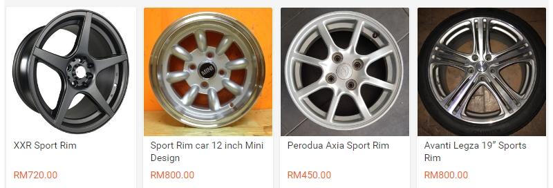 Pelbagai design sport rim untuk kereta yang dijual online di website Shopee
