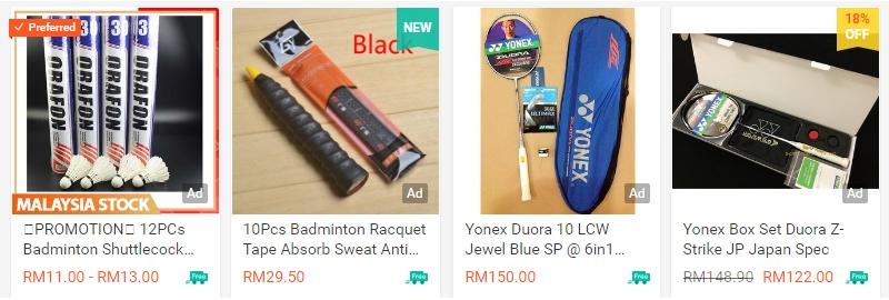 Peralatan kelengkapan untuk bermain badminton ada di website Shopee Malaysia