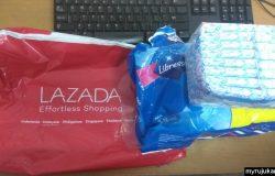 Pesanan tuala wanita dari Lazada telah sampai