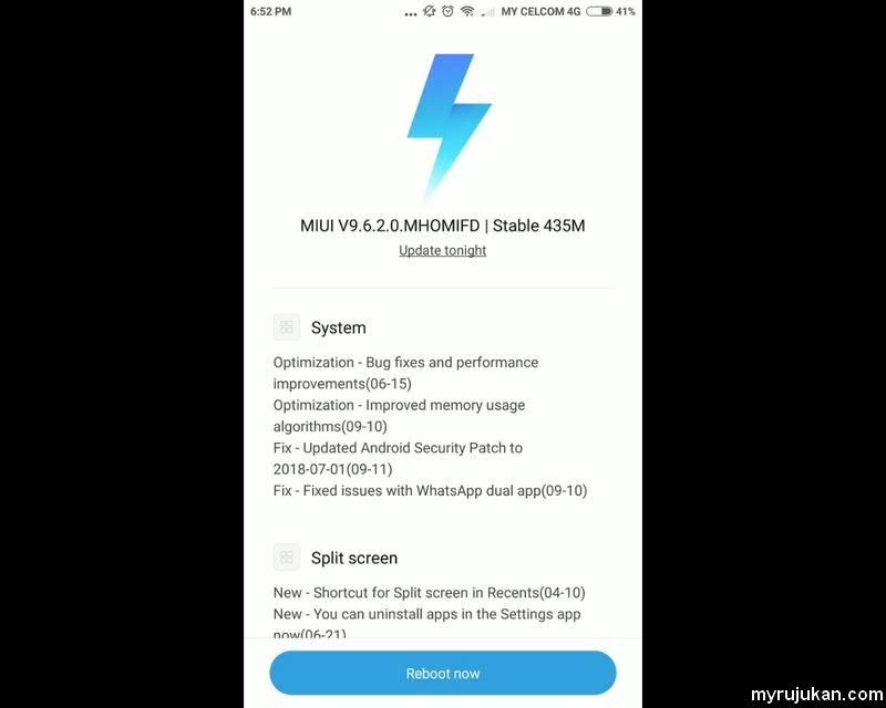 Proses update software android untuk Xiaomi menggunakan ROM versi MIUI