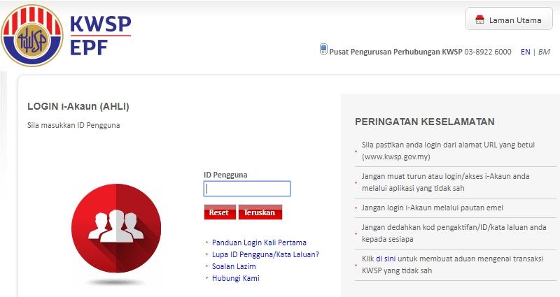 Sila login i-akaun di website rasmi KWSP