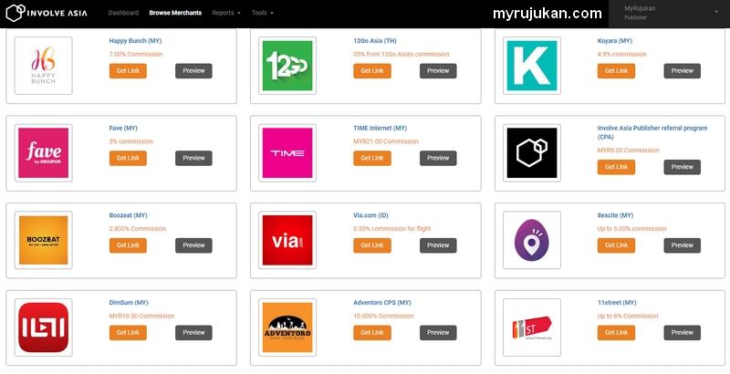 Ada banyak program affiliate eCommerce untuk anda jana komisen dengan InvolveAsia