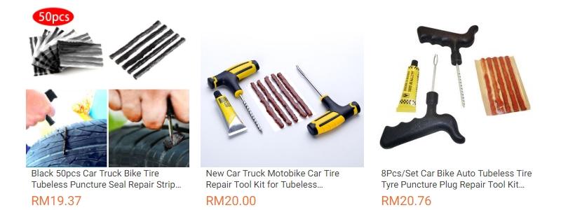 Alat tool kit untuk tampal tayar bocor kereta yang ada dijual di Lazada