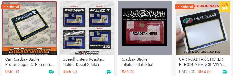 Contoh pelekat roadtax kenderaan yang banyak dijual di internet