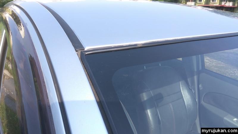 Kesan kemek bumbung dan retak cermin hadapan Perodua Myvi telah dibaik pulih