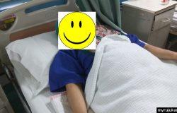 Muka ceria sebelum masuk ke dewan pembedahan
