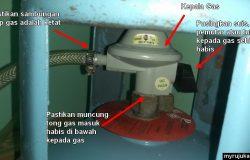Pemasangan yang betul untuk kepala gas dapur kepada tong gas memasak