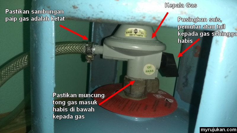Pemasangan Yang Betul Untuk Kepala Gas Dapur Kepada Tong Memasak