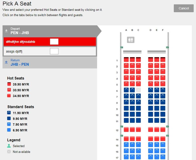 Pilih seat tempat duduk dengan harga yang berbeza