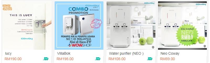 Produk penapis air Coway yang dijual secara online