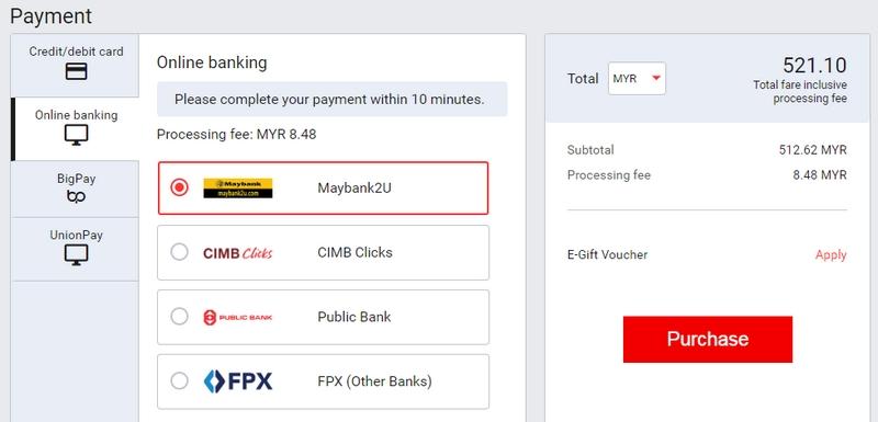 Proses terakhir adalah dengan buat bayaran untuk beli tiket AirAsia