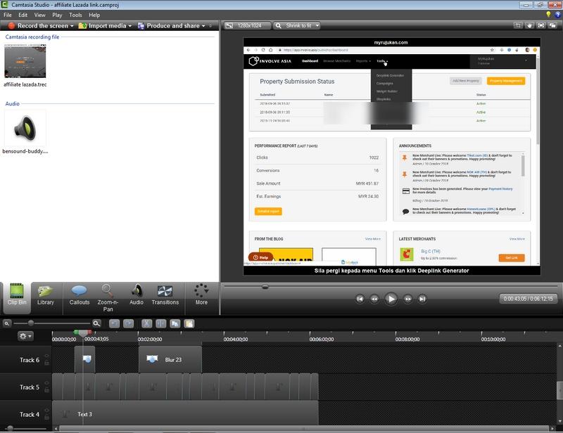 Saya menggunakan software Camtasia Studio untuk sunting video dan buat video untuk YouTube